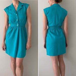 VINTAGE Alicia teal cap sleeve button front dress
